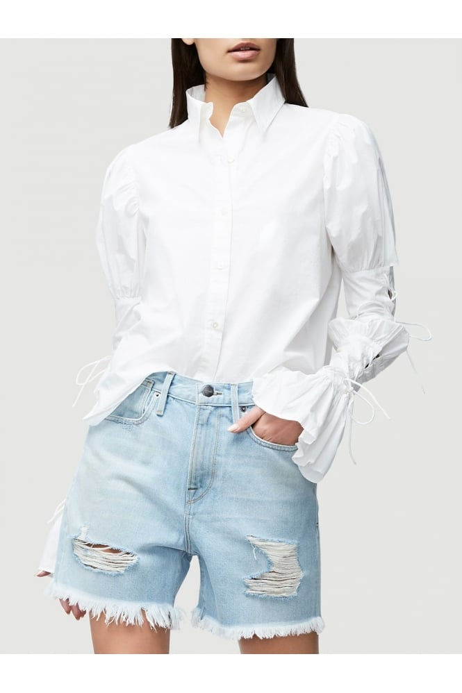 FRAME Women's LWSH0610 Lace Up Sleeve White Shirt