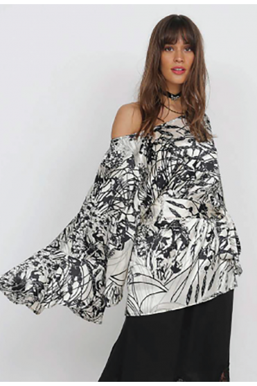Bronte Batwing Patterned Top GH800
