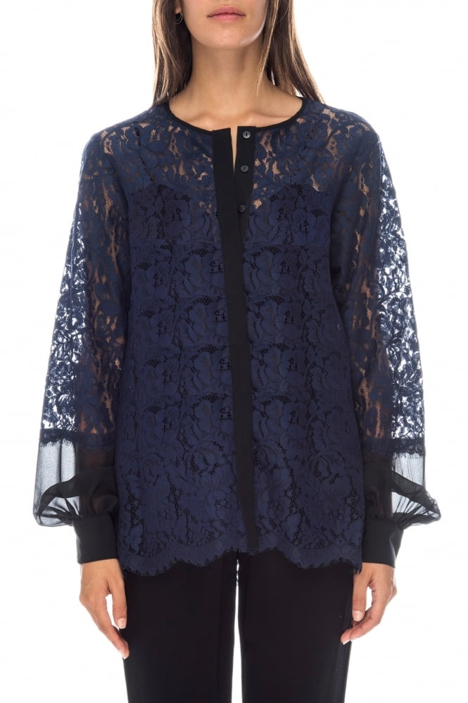 GOLDHAWK Women's GH468 Lace Navy Shirt