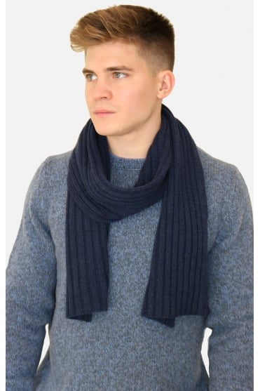 Gran Sasso Men's 13164 Cable Knit Woven Grey/Blue Scarf