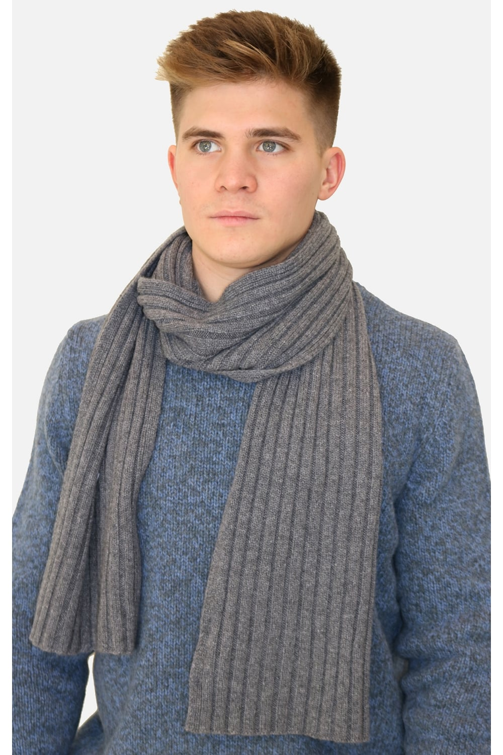 Gran Sasso Gran Sasso Men S 13164 Cable Knit Woven Scarf In Grey