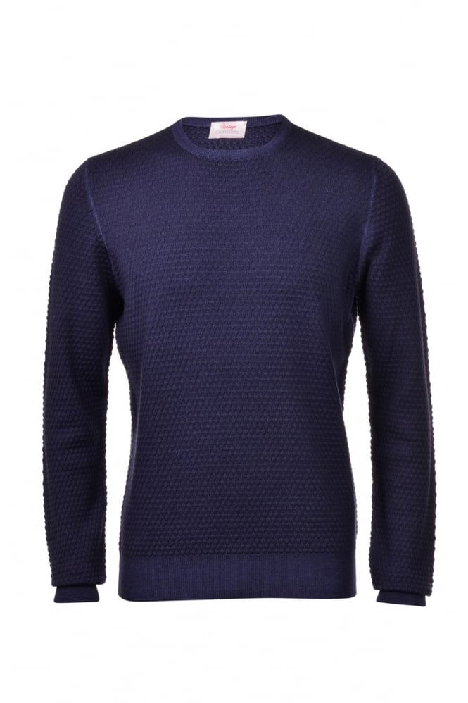 GRAN SASSO Men's 57108 Bobble Round Neck Navy Jumper