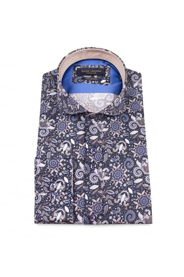 Blue Paisley Cotton Shirt 74365