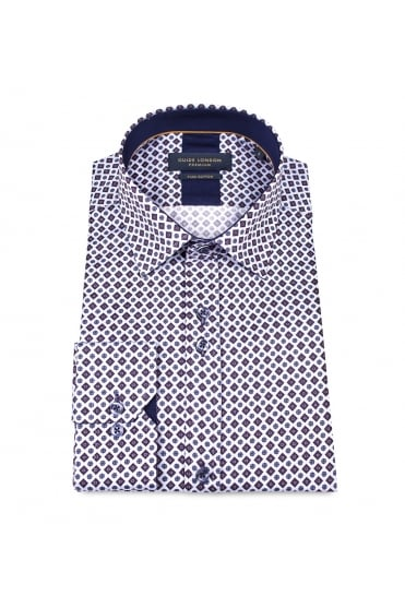 Blue Tile Pattern Shirt 74414