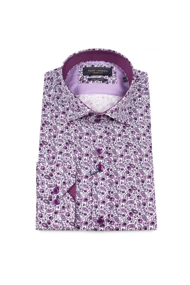 GUIDE LONDON Men's 74336 Flower And Paisley Purple Shirt