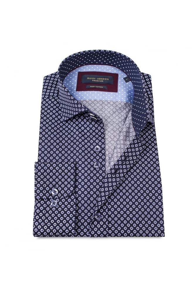 GUIDE LONDON Men's 74379 Square Pattern Blue Shirt