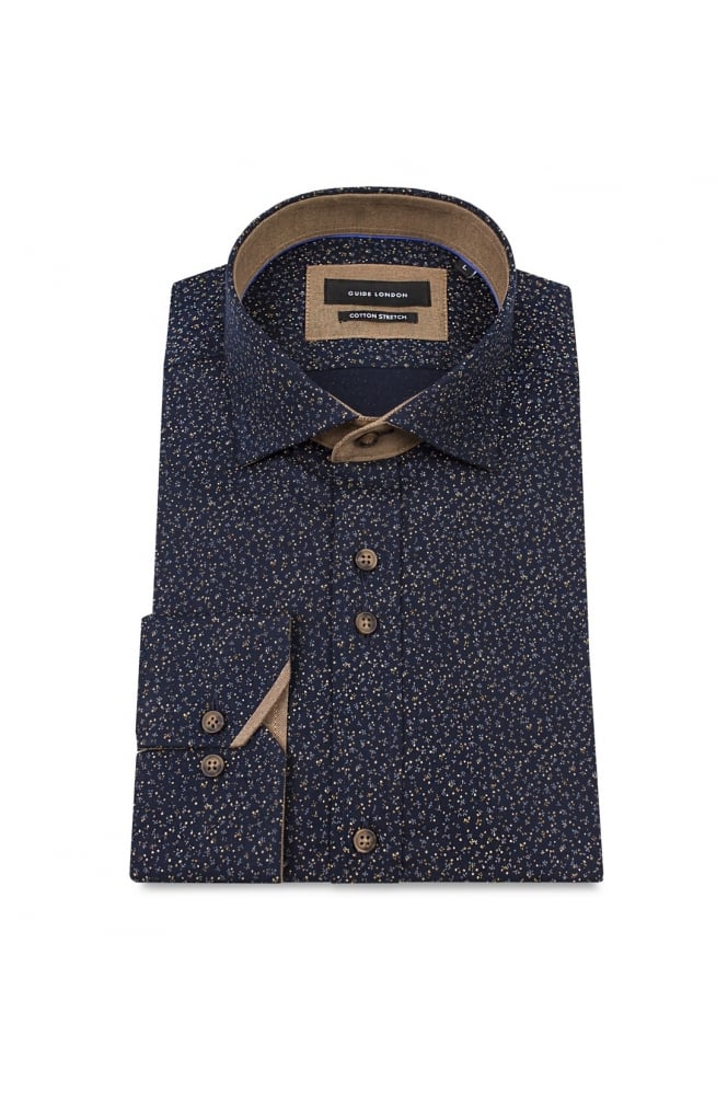 GUIDE LONDON Men's 74460 Ditsy Patterned Navy/Tan Shirt