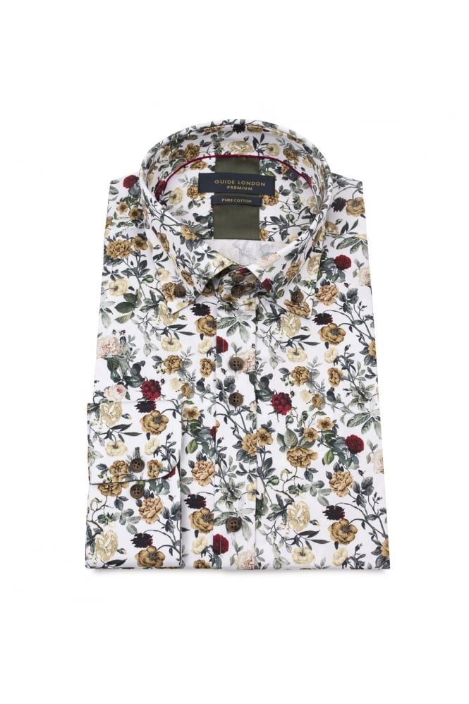 GUIDE LONDON Men's 74548 White Flower Multi-Colour Shirt