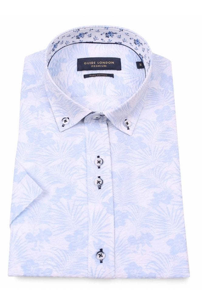 GUIDE LONDON Men's HS2259 White Floral Shirt