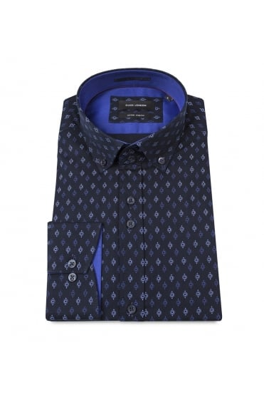Navy Blue Geometric Shirt 74309