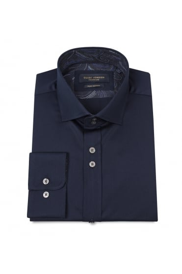 Navy Cotton Sateen Shirt 74466
