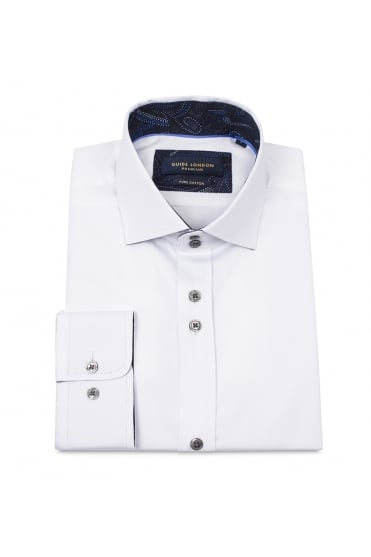 White Shirt with Blue Pattern Collar 74466