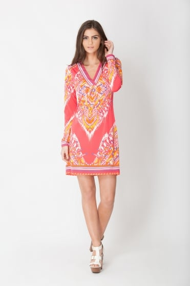 Coral Pink Patterned Dress 6ZSW6282
