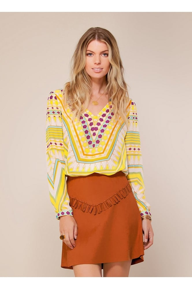 HALE BOB Women's 5SDN2869 Chiffon Yellow Top