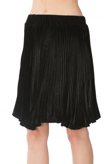 Hale Bob Women's 78SH4008 Velvet Pleated Black Skirt