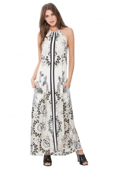 Hale Bob Women's 81PT6497 Maxi Cream/Black Dress