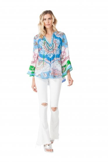 Women's 85CT2385 Blue Printed Shirt