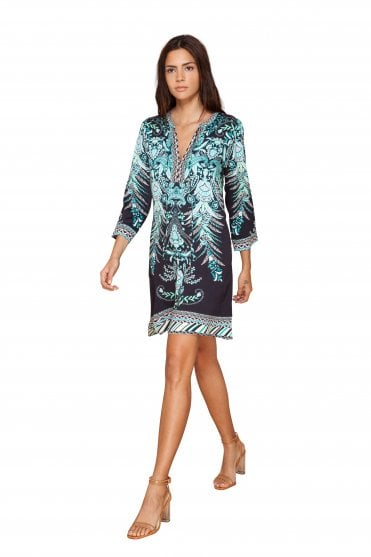 Women's 85XT6572 Black Printed Dress