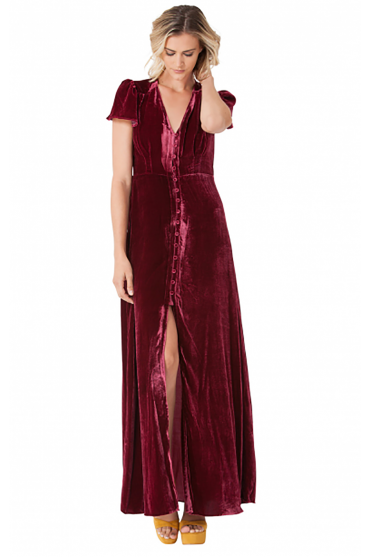 Hale Bob Women's H77EV6396 Tiffany Velvet Red Dress