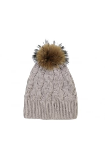 Hemisphere Women's 1621CAP2F-4 Knitted Bobble Pom Beige or Navy Hat