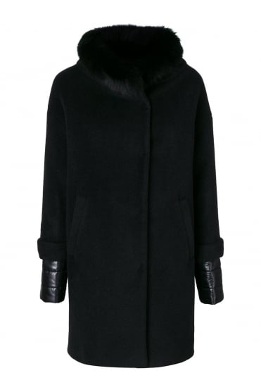 Black Coat With Fur Collar CA0161D 38150