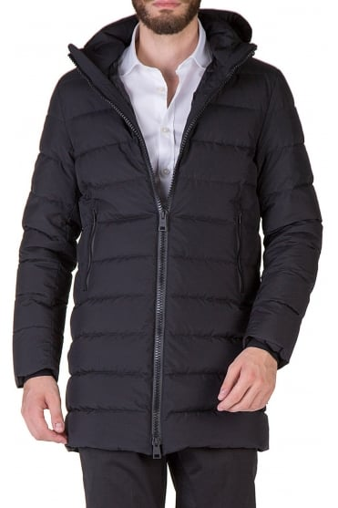 Black Padded Down Coat PI072UL