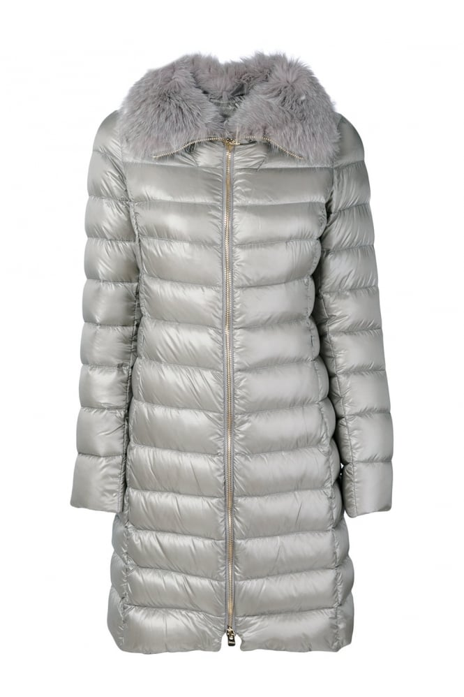 HERNO Grey Puffer Coat With Fur Collar P10650D 12017