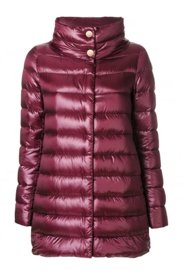 Herno Women's P10505D 12017 Quilted Puffer Red Jacket