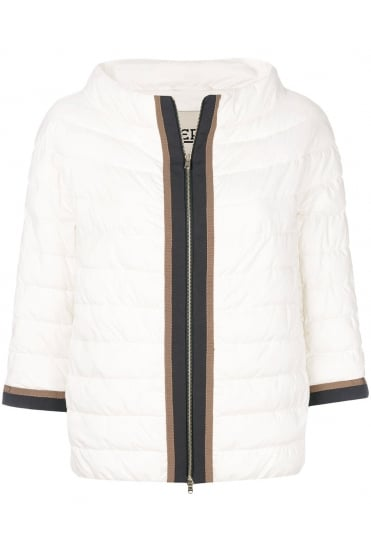 Herno Women's PC0038D Woven Cream Jacket
