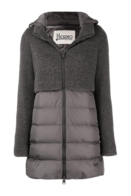 5c05fd911d3674 HERNO Women's PI0822D Half Knit Coat in Grey - WOMAN from Piajeh UK
