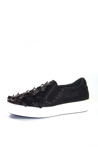 Black Butterfly Applique Trainers K1350