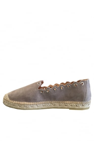 Brown Suede Espadrille with Eyelets K1110