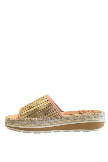 Gold Woven Slider Sandals K0878