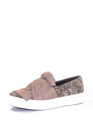 Grey Bow Slip On Trainer K1346