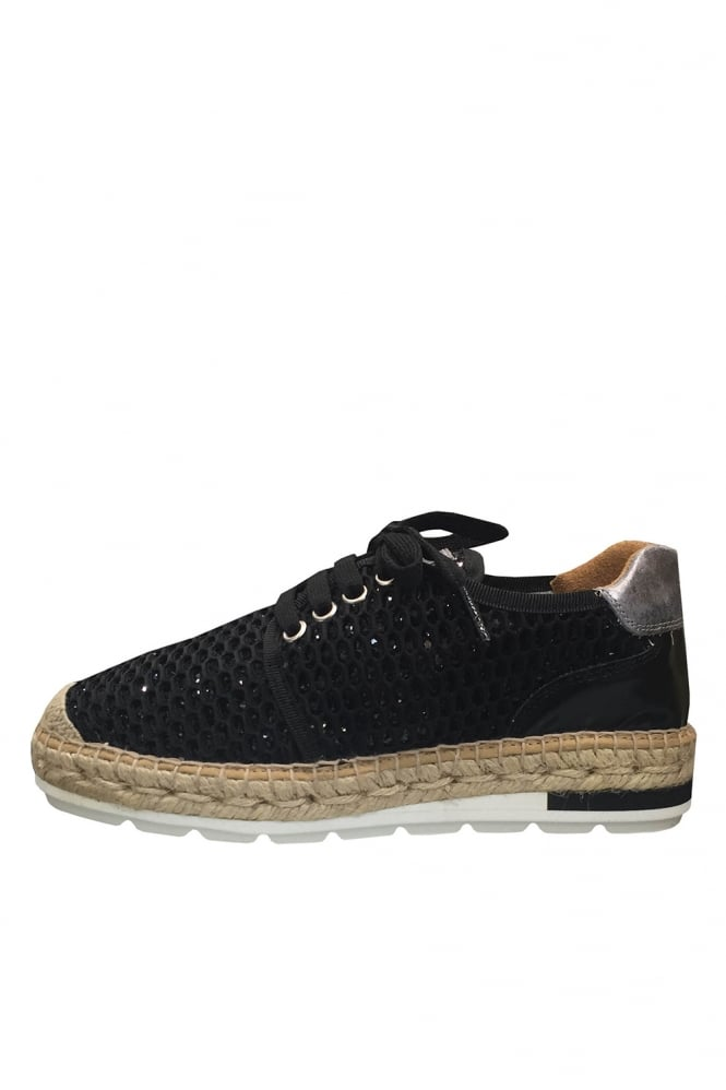 Kanna Lace up Silver Glitter Espadrille Trainer K0835
