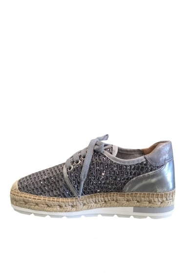Lace up Silver Glitter Espadrille Trainer K0835
