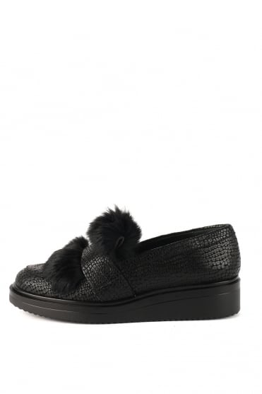 Lois Black Fur Loafer K1437