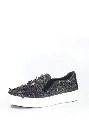 Metallic Silver Butterfly Slip On Trainer K1349