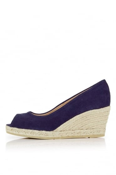 Navy Heeled Wedges K1067