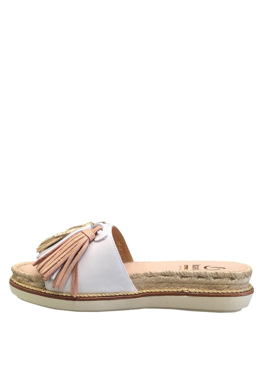 a63d2fd79848a KANNA Kanna Women s K0940 Metallic Leather Tassel Sandals in White ...
