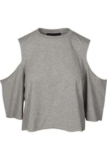 Grey Cold Shoulder T-Shirt 17093TK