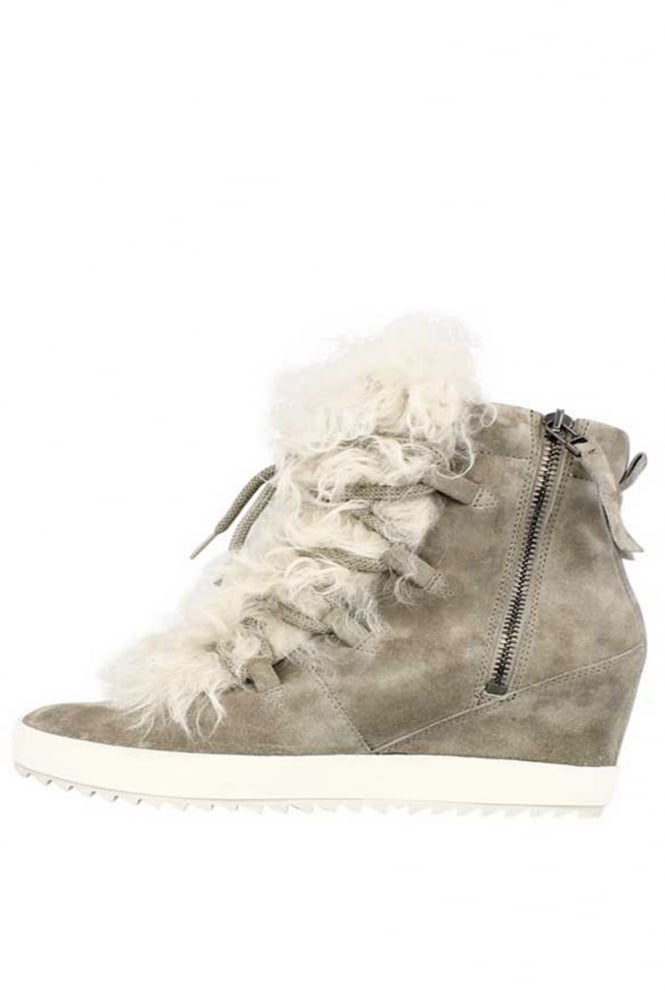 Kennel & Schmenger Grey Suede High Top Trainers With Fur 41-50520-544