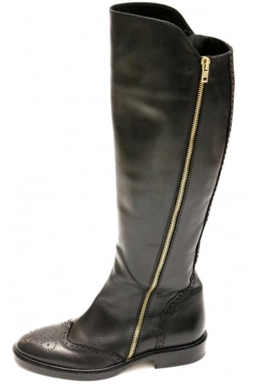 Le Pepe Women's 149830 Leather Knee High Black Boot