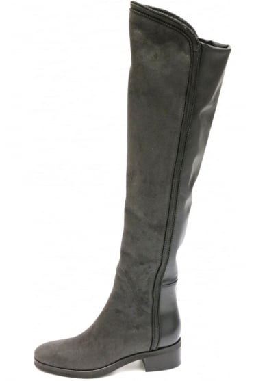 Le Pepe Women's A196467 Knee High Textured Leather Brown or Grey Boot