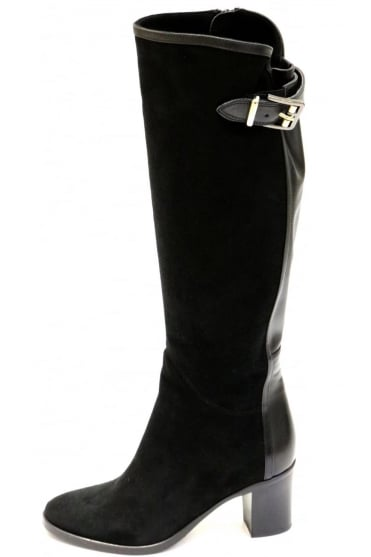 Le Pepe Women's A675944 Heeled With Buckle Long Black Boot
