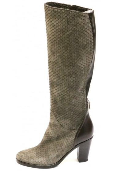 Le Pepe Women's B123750 Snake Knee High Beige Boot