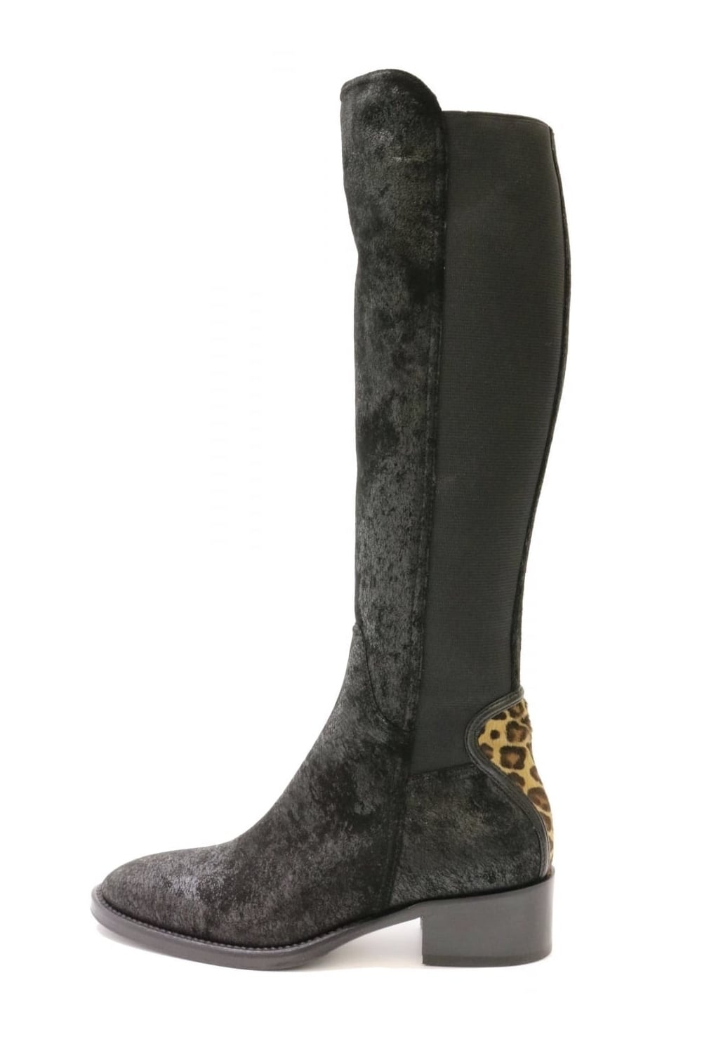8a3a90ab4a92 LE PEPE Le Pepe Women's B81422 Long Leather Leopard Black Boot ...