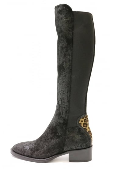 Le Pepe Women's B81422 Long Leather Leopard Black Boot