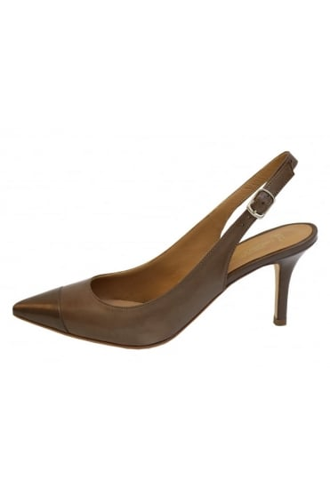 Lorenzo Masiero Women's S181A460 Slip Back With Toe Cap Brown or Beige Shoe