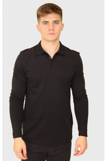 Majestic Filatures Men's W1709006 Long Sleeve Polo Black Shirt